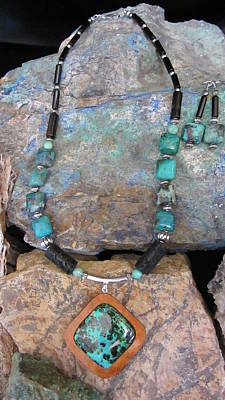 Jewelry - Parrot Wing Jasper Set In Gourd Wood #r114 by Barbara Prestridge