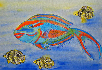 Parrotfish And Butterflies Original by Kelly     ZumBerge