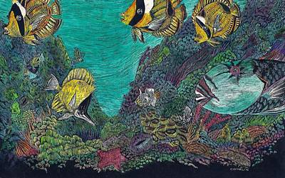 Parrotfish Painting - Parrotfish On The Reef by Cynthia Conklin