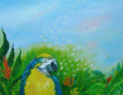 Parrothead Wakes Up In Margaritaville Art Print by Phyllis OShields