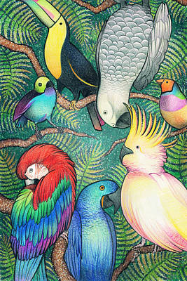 Rain Forest Animals Drawing - Parrots In A Tree by McKenna Sato
