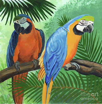Painting - Parrots In Light And Shade by Arlene Kelley