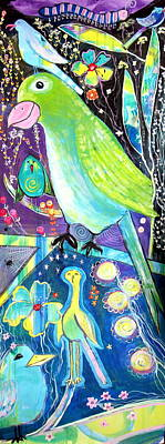 Wall Art - Painting - Parrots In My Mind by Carol Iyer