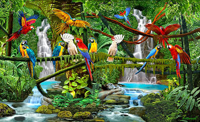 Digital Art - Parrots In Paradise by Glenn Holbrook