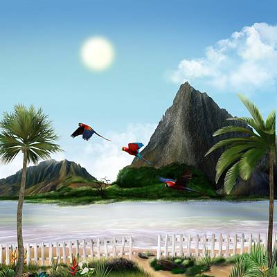 Digital Art - Parrots In Paradise by Mark Taylor