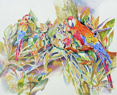 Art Print featuring the painting Parrots In Paradise by Mary Haley-Rocks