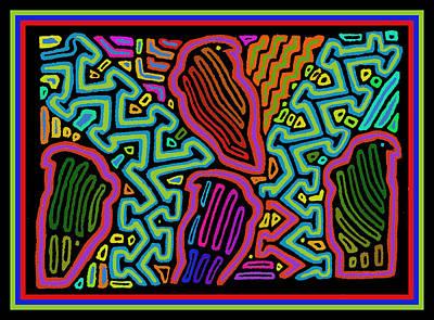 Digital Art - Parrots In Paradise by Vagabond Folk Art - Virginia Vivier