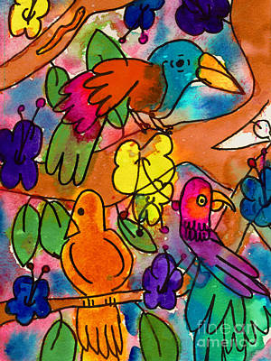Painting - Parrots by Nick Abrams Age Nine