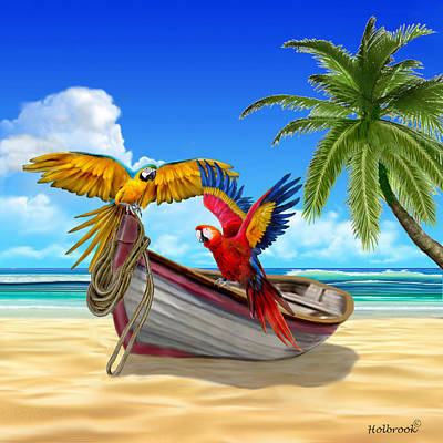 Digital Art - Parrots Of The Caribbean by Glenn Holbrook