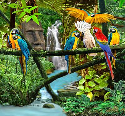 Cockatoo Digital Art - Parrots Of The Hidden Jungle by Glenn Holbrook