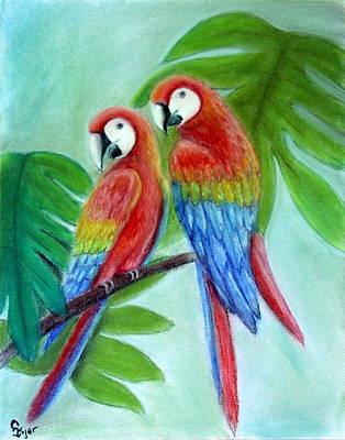 Wall Art - Pastel - Parrots On Patrol by Carol Iyer