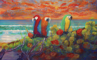 Painting - Parrots On Sunset Beach by Ken Figurski