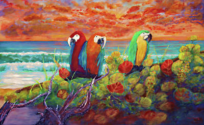 Mixed Media - Parrots On The Beach Painterly by Ken Figurski
