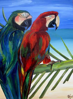 Parrots On The Beach Art Print by Patti Schermerhorn