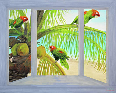 Mixed Media - Parrots Through The Window Painting 2 by Ken Figurski
