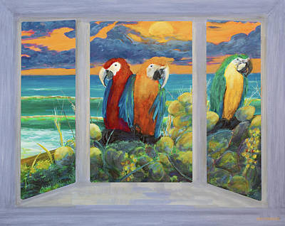 Mixed Media - Parrots Through The Window Painting by Ken Figurski