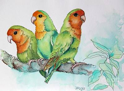 Painting - Parrots Trio by Inese Poga