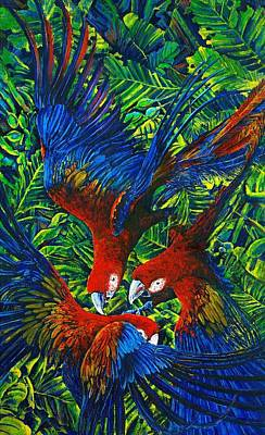 Painting - Parrots With Newborn by Michael Cranford