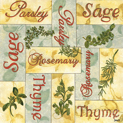 Rosemary Painting - Parsley Collage by Debbie DeWitt