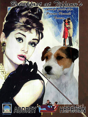 Painting - Parson Russell Terrier Art Canvas Print - Breakfast At Tiffany Movie Poster by Sandra Sij