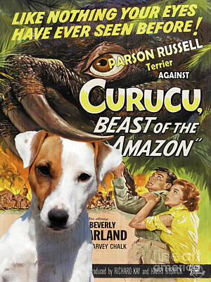 Painting - Parson Russell Terrier Art Canvas Print - Curucu  Movie Poster by Sandra Sij