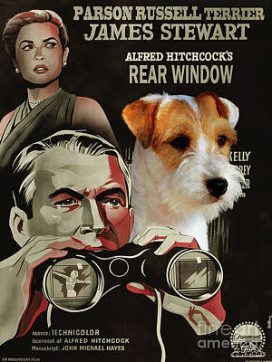 Painting - Parson Russell Terrier Art Canvas Print - Rear Window Movie Poster by Sandra Sij