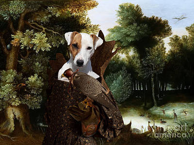 Painting - Parson Russell Terrier Art - Forest Landscape With A Hunter And Noble Lady by Sandra Sij