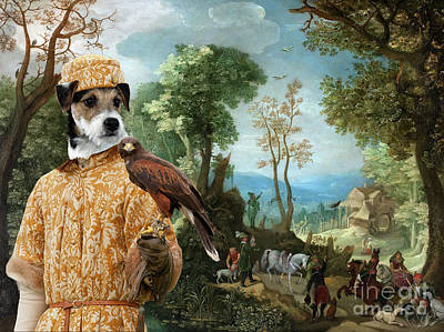 Painting - Parson Russell Terrier Art - Landscape With Hunters by Sandra Sij