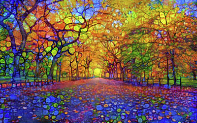 Mixed Media - Park In Autumn by Lilia D