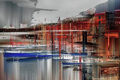 Alienation Digital Art - Part Of Harbor, Hamburg by Horst Tomaszewski