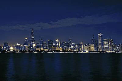 Partial Chicago Skyline Blues Art Print