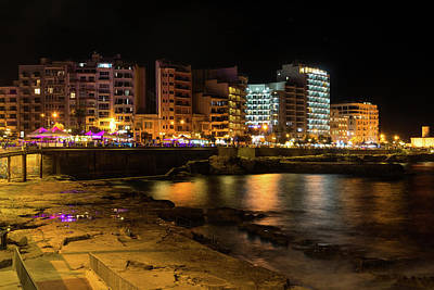 Photograph - Particolored Midnight - Tower Road Waterfront In Sliema Malta by Georgia Mizuleva