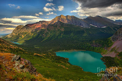 Photograph - Partly Cloud Over Grinnell Lake At Glacier by Adam Jewell
