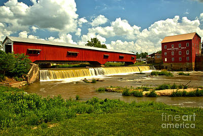 Photograph - Partly Cloudy At The Bridgeton Mill by Adam Jewell
