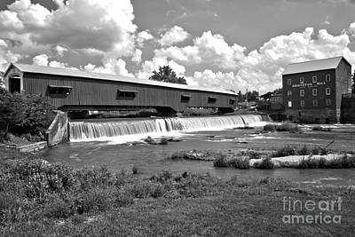 Photograph - Partly Cloudy At The Bridgeton Mill Black And White by Adam Jewell