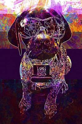 Digital Art - Partner Press News Dog Sunglasses  by PixBreak Art