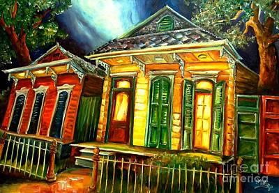New Orleans Shotgun Houses Painting - Partners by Diane Millsap