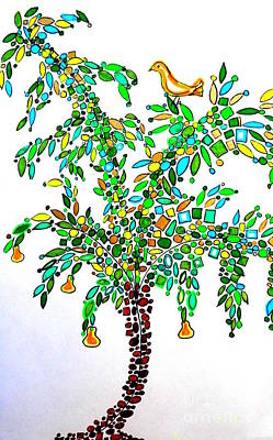 Drawing - Partridge In A Pear Tree by L Cecka