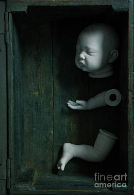 Print featuring the photograph Parts Of A Plastic Doll In A Wooden Box by Lee Avison