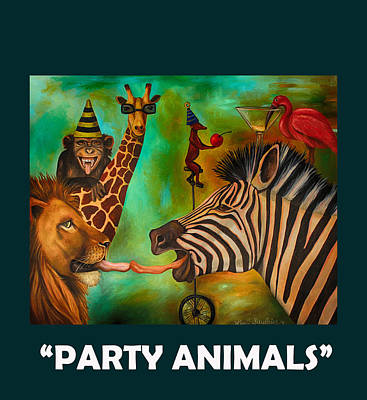 Zebra Painting - Party Animals With Lettering by Leah Saulnier The Painting Maniac