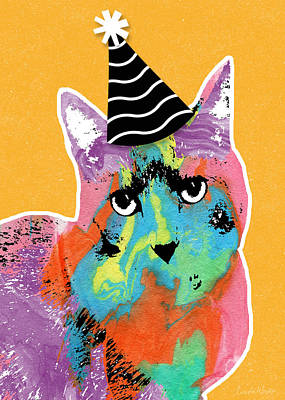 Mixed Media Rights Managed Images - Party Cat- Art by Linda Woods Royalty-Free Image by Linda Woods