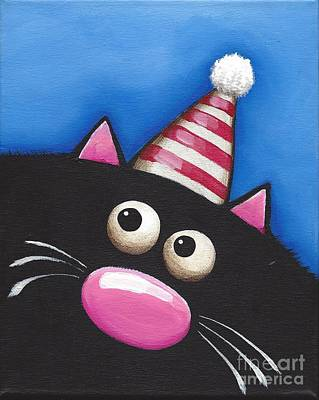 Fat Cat Wall Art - Painting - Party Cat In A Red Hat by Lucia Stewart