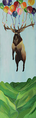 Elk Painting - Party Crasher by Lacey Hermiston