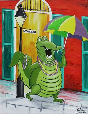 Louisiana Alligator Painting - Party Gator by Valerie Carpenter