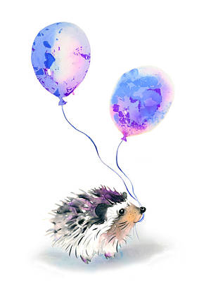 Birthday Painting - Party Hedgehog by Krista Bros