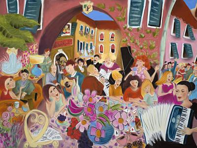 Party In The Courtyard Art Print by Tatjana Krizmanic
