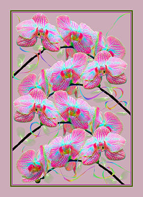 Mixed Media - Party Orchids by Rosalie Scanlon