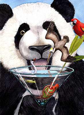 Martini Paintings - Party Panda by Catherine G McElroy