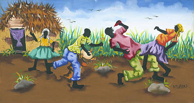 Haitian Painting - Partying by Herold Alveras