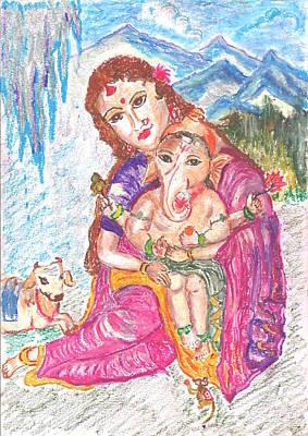 Mahabharata Painting - Parvathi And Baby Ganesh by Chitra Pandalai